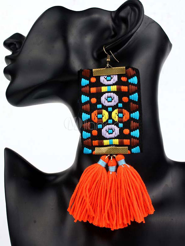 Boho Dangle Earring Ethnic Embroidered Cotton Red Women Statement Earring