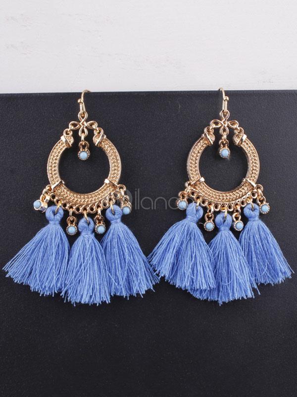 Buy Women Tassel Earring Boho Gem Embossed Dangle Earring for $3.39 in Milanoo store