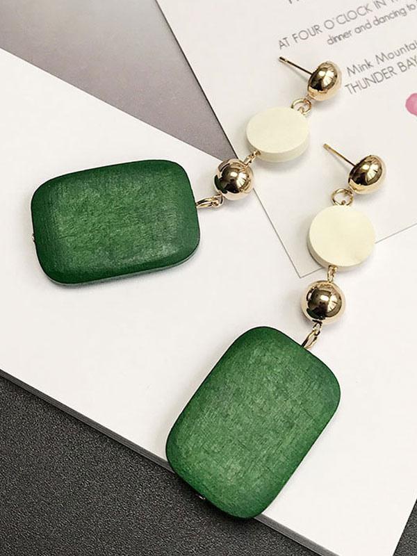 Buy Women Green Earring Geometric Wood Metallic Dangle Earring for $3.39 in Milanoo store