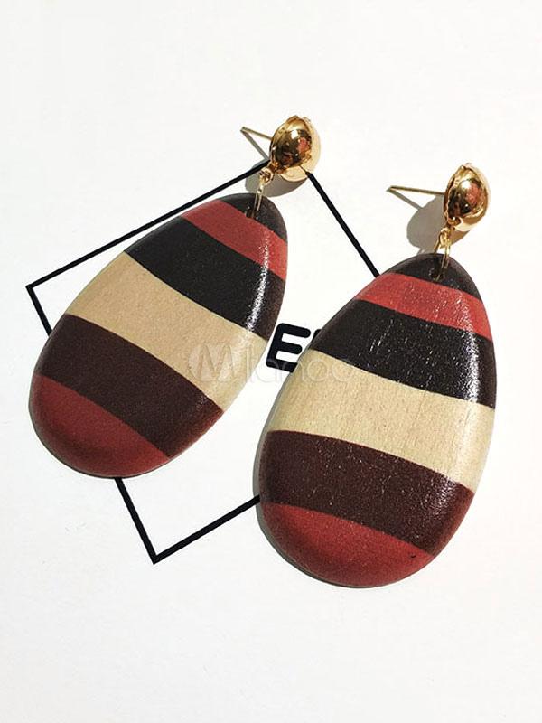 Buy Women Dangle Earring Geometric Shape Metallic Wood Earring for $3.39 in Milanoo store