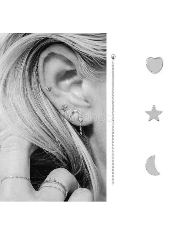 Buy Punk Earring Stud Star Chain Sweetheart Silver Women Boho Earring for $2.75 in Milanoo store