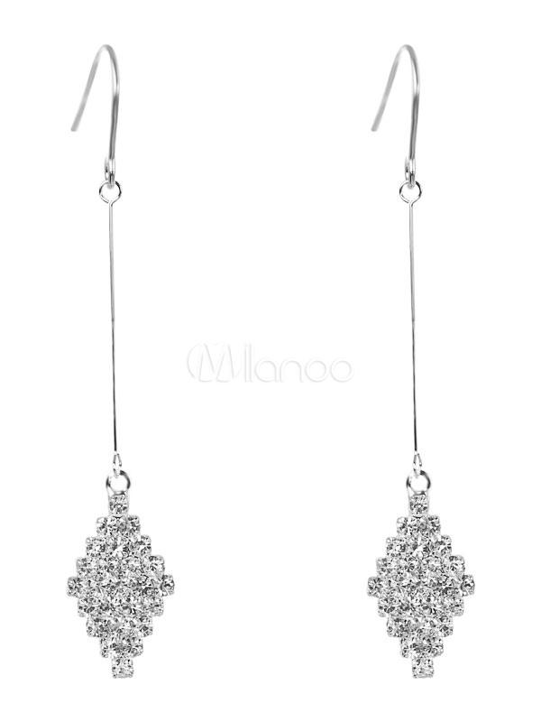 Silver Dangle Earring Rhinestone Geometric Alloy Women Earring