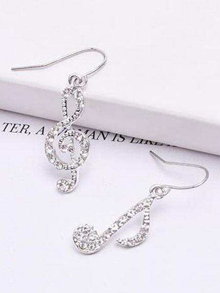 Buy Silver Dangle Earring Rhinestone Note Alloy Women Asymmetrical Earring for $1.69 in Milanoo store