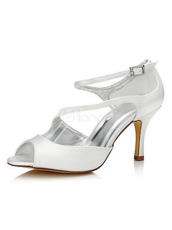 Buy White Wedding Shoes Peep Toe Kitten Heel Bridal Sandals for $47.49 in Milanoo store