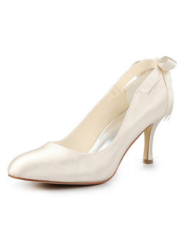 Ivory Wedding Shoes Round Toe Kitten Heel Satin Bridal Pumps