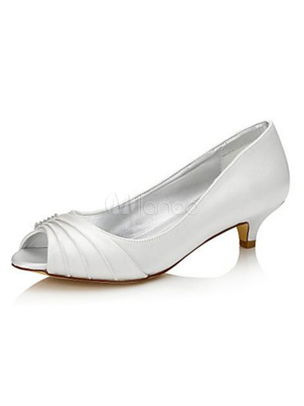 Buy White Wedding Shoes Peep Toe Kitten Heel Bridal Pumps for $44.99 in Milanoo store