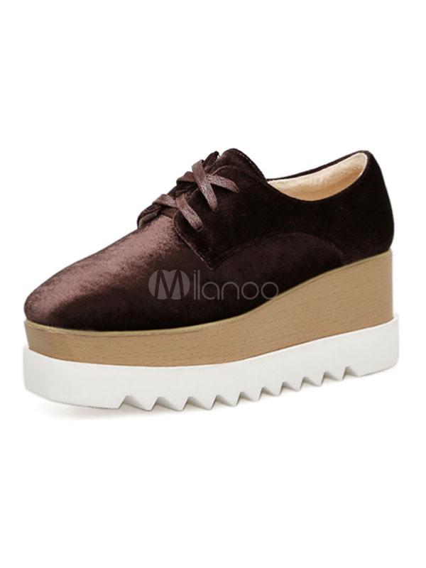 Zapatos de puntera cuadrada con cinta de terciopelo Color liso estilo informalde tacón de cuña para ocasión informal Primavera/Otoño xY0132aha