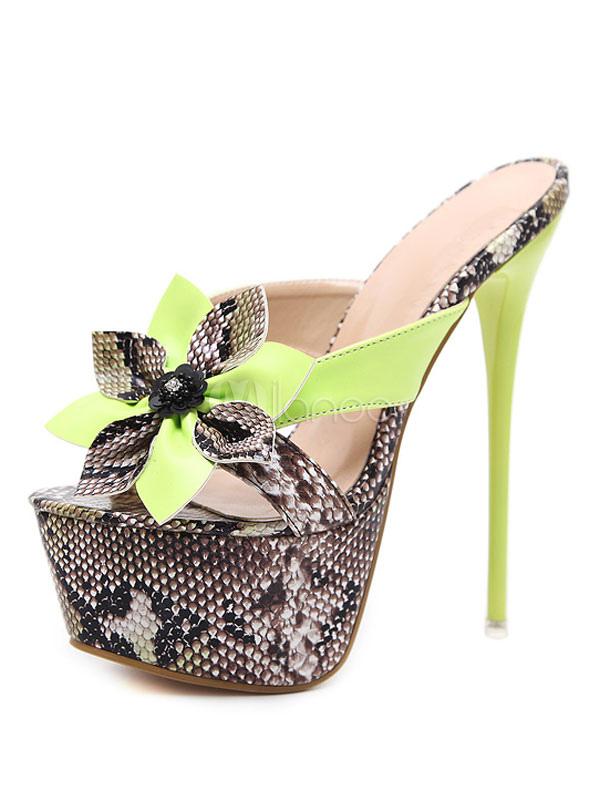 Women Slides Green Snakeskin Two Tone PU Upper Stiletto High Heel Women Slip On Shoes