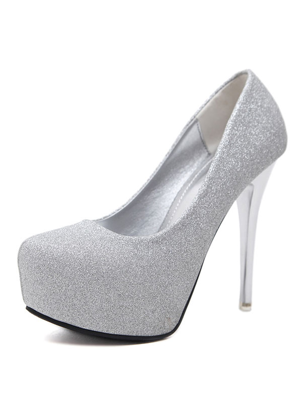 f8d7c2874516 Silver Evening Shoes Women High Heels Sequined Platform Slip On Pumps-No.1  ...