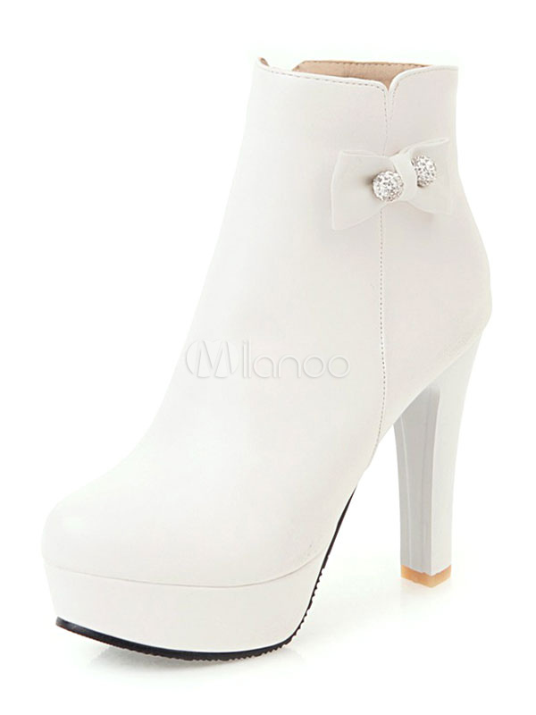 White Ankle Boots Chunky Heel Round Toe
