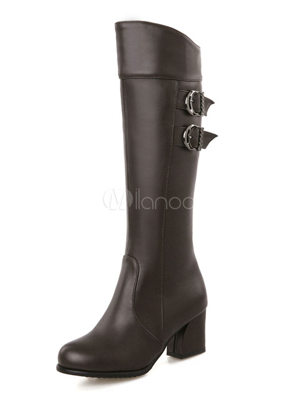 Knee Length Boots Round Toe PU Upper Chunky Heel Buckled Boots For Women Black