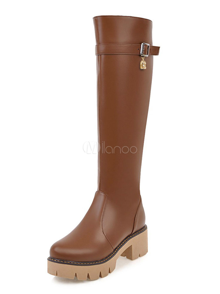Knee High Boots PU Upper Round Toe Chunky Heel Zipper Buckle Boots For Women Brown