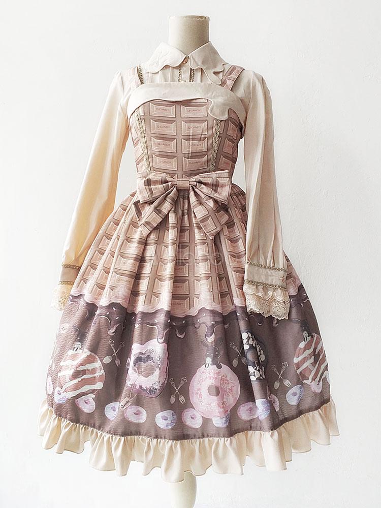 Sweet Lolita Jsk Jumper Skirt Infanta Food Printed Bows