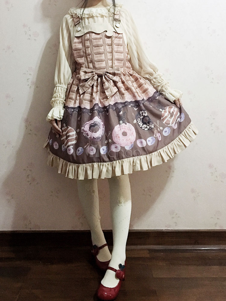 Buy Sweet Lolita JSK Jumper Skirt Infanta Food Printed Ruffles Plaid Jacquard Apricot Lolita Dress for $53.99 in Milanoo store