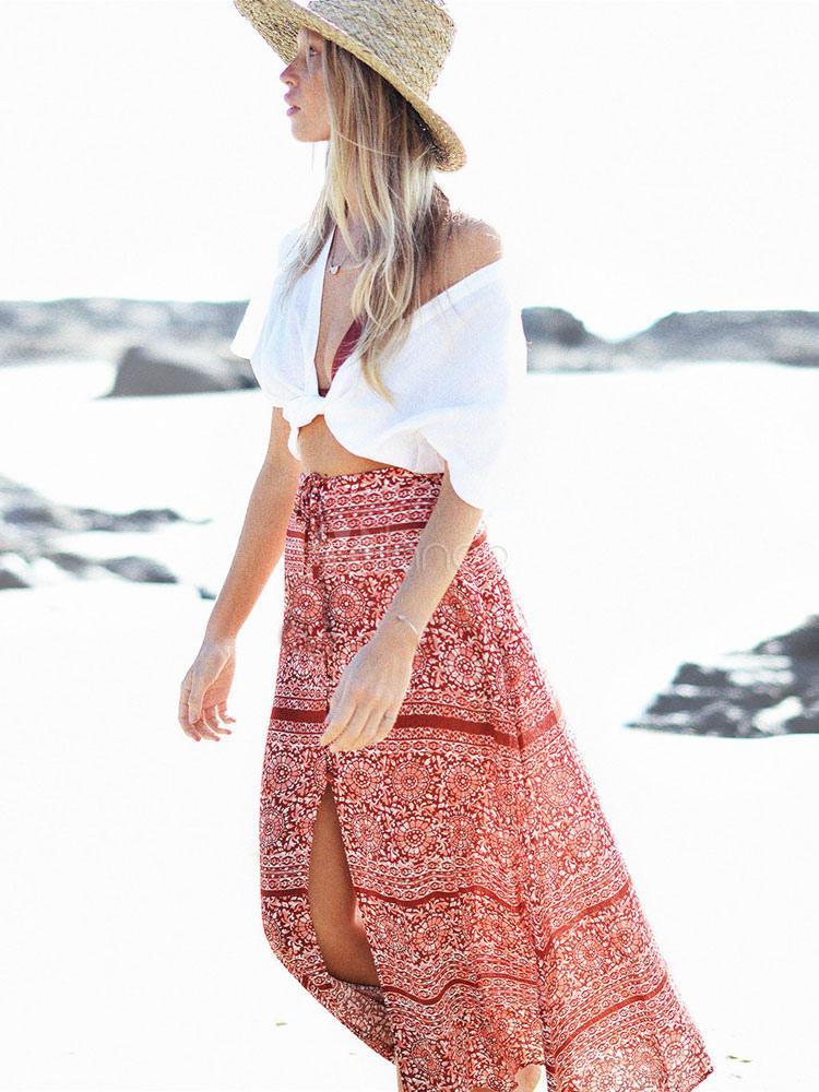 Women Chiffon Skirt Boho Print High Slit Red Maxi Skirt