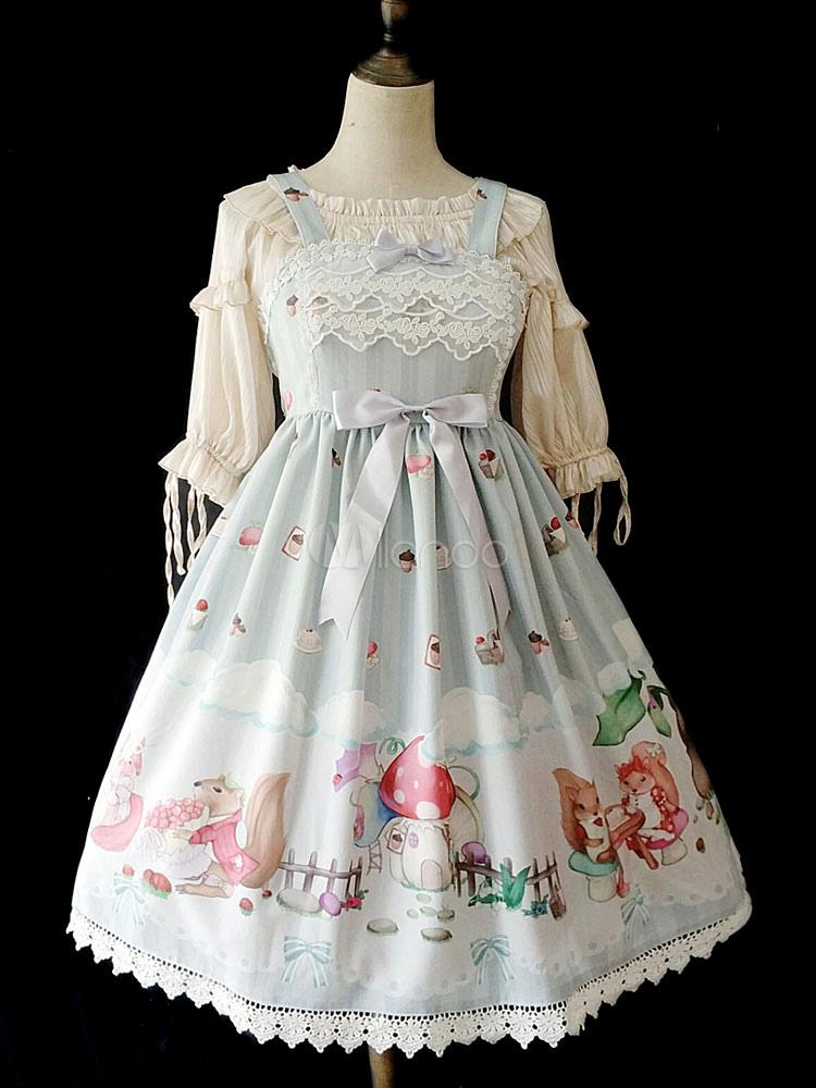 Sweet Lolita JSK Jumper Skirt Infanta Lace Bows Printed Mint Green Lolita Dress
