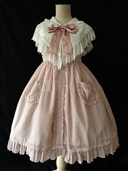 Buy Classic Lolita JSK Jumper Skirt Infanta Ruffles Sleeveless Burgundy Lolita Dress With Bowknot for $67.49 in Milanoo store