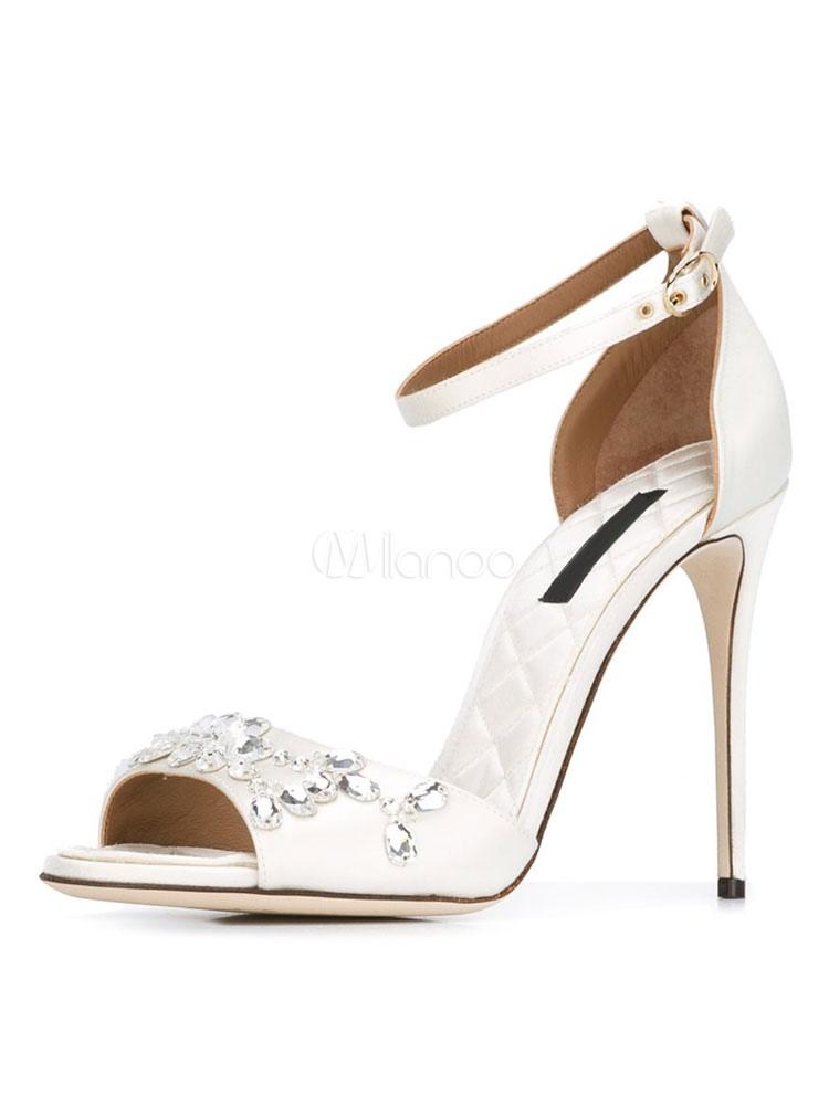 White Wedding Shoes Open Toe High Heel Stiletto Rhinestones Bridal Sandals