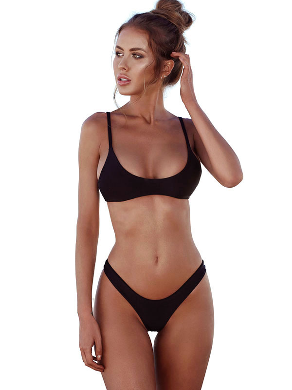 65be92efda Shoptagr | Black Bikini Swimsuit Straps Sleeveless Sexy 2 Piece ...