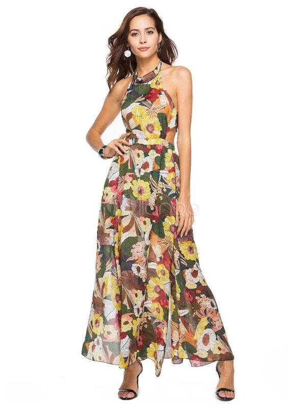 a9f7da99863d Maxi Floral Dress Women Chiffon Halter Slit Backless Sleeveless Long  Dress-No.1 ...