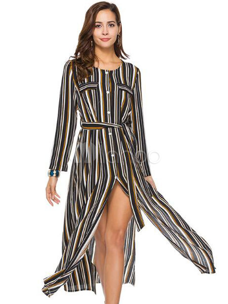 Buy Women Shirt Dress Striped Long Sleeve Round Neck Split Brownish Black Maxi Dresses for $23.99 in Milanoo store