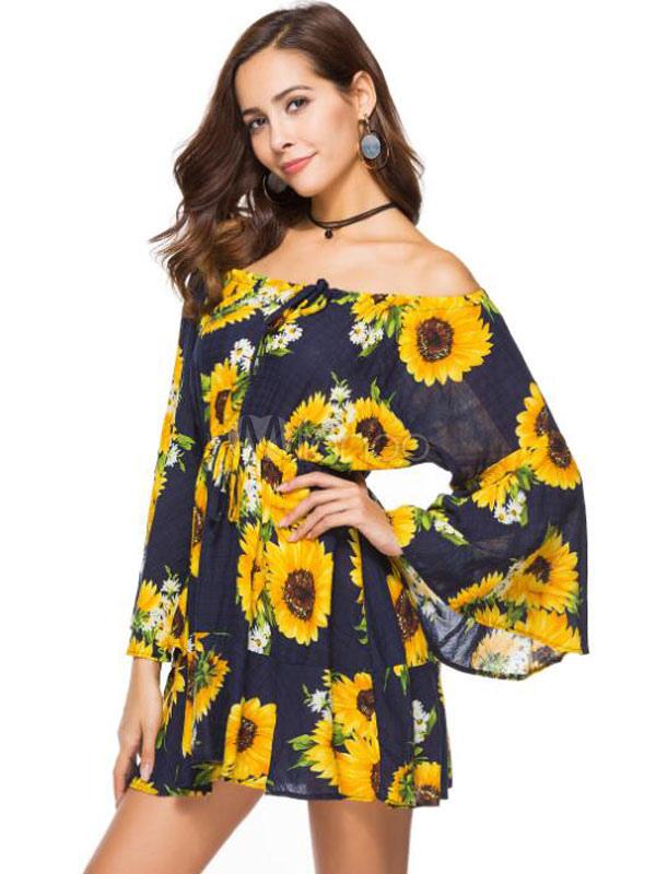 85caef93c3d ... Sunflower Summer Dress Women Off Shoulder Floral Bell Sleeve Mini  Dresses-No.3 ...
