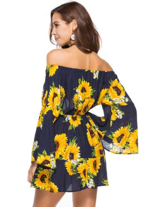 663a8d2beb6 ... Sunflower Summer Dress Women Off Shoulder Floral Bell Sleeve Mini  Dresses-No.4