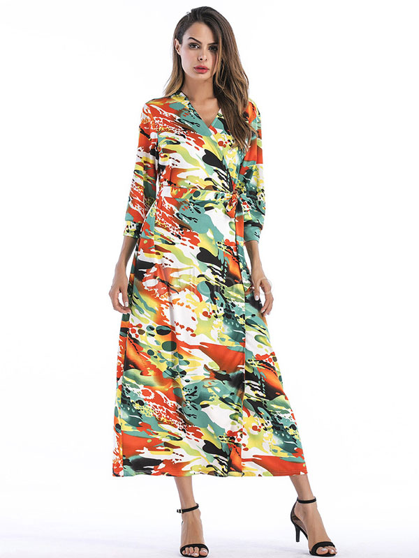 Buy Spring Women Dress V Neck 3/4 Sleeve Print Orange Long Wrap Dress for $27.89 in Milanoo store