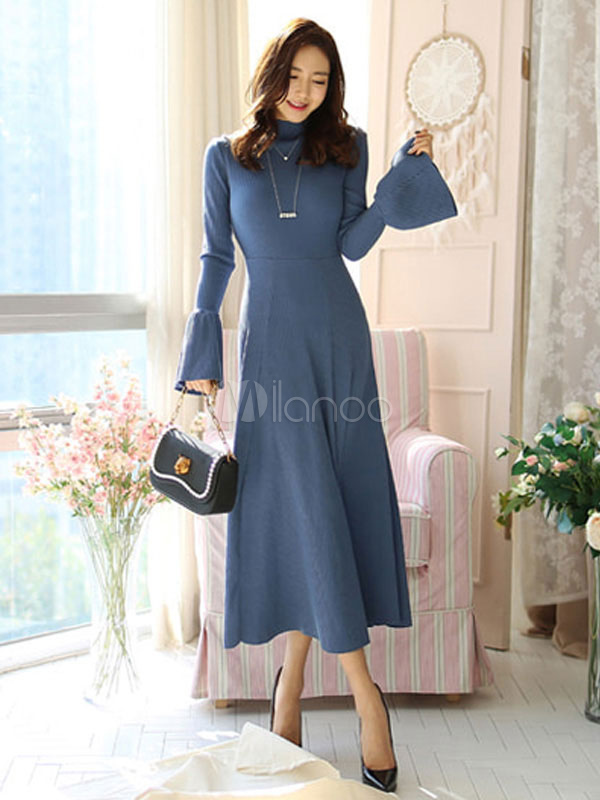 Buy Blue Long Dress High Collar Knit Bell Sleeve Pleated Women Long Sleeved Dress for $37.99 in Milanoo store