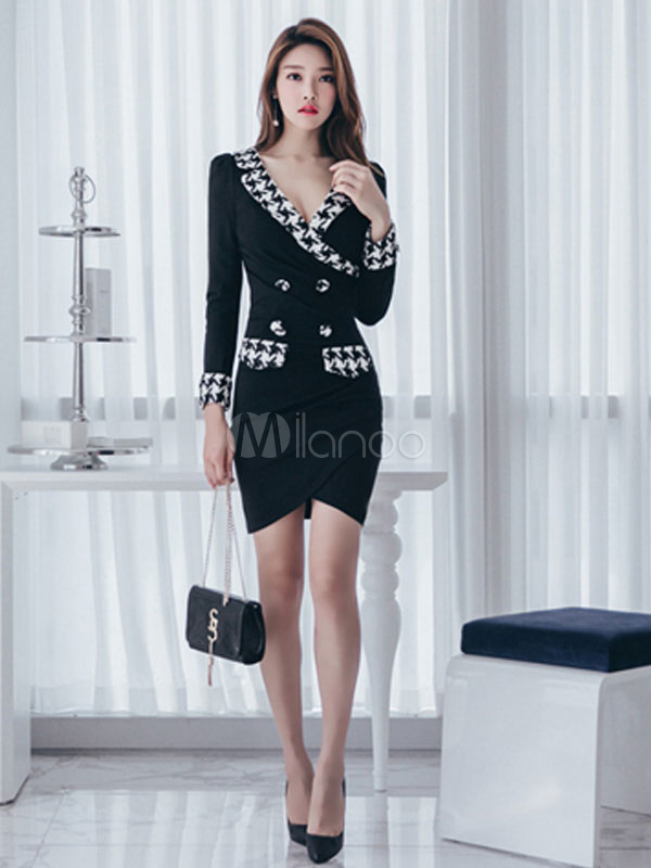 Black Bodycon Dress Long Sleeve Work Dress V Neck Button Women Spring Dress