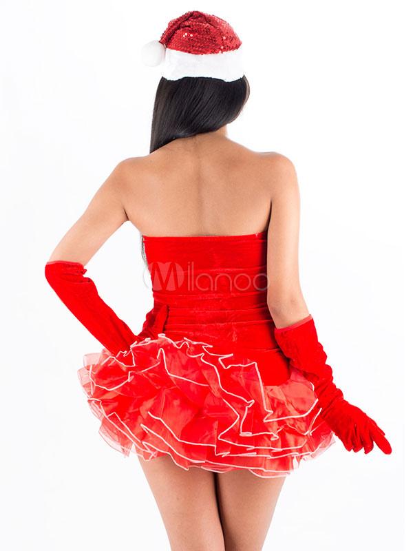 sexy weihnachten kost m mit kleid und hut und handschuhe in rot. Black Bedroom Furniture Sets. Home Design Ideas