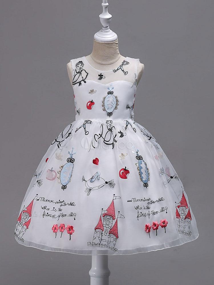 Flower Girl Dresses White Sleeveless Printed Princess Tutu Dress Tulle Kids Ball Gown Party Dress