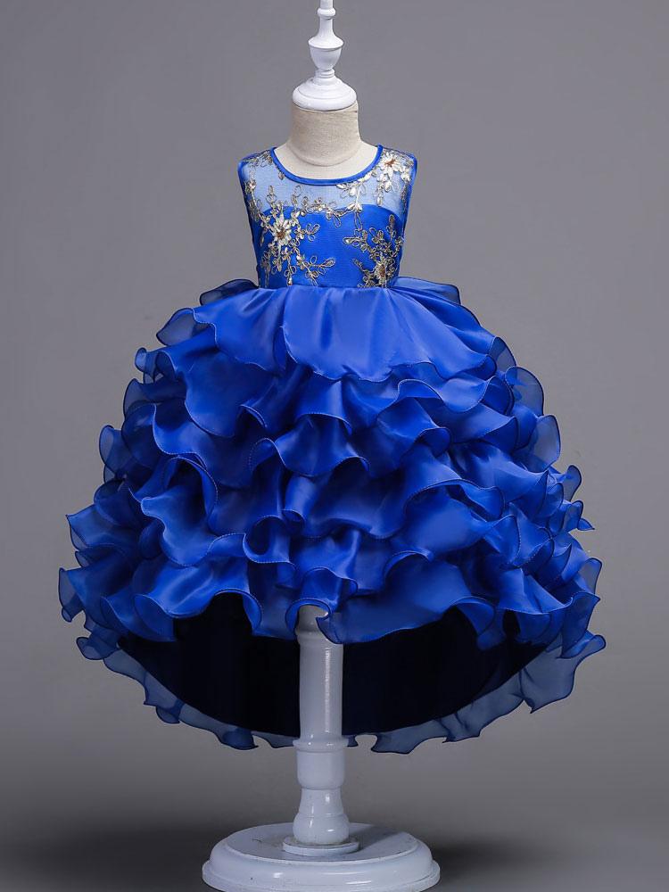 Flower Girl Dresses Blue Sleeveless Ruffles Tutu Pageant Dresses Embroidered Layered Kids Ball Down Dresses