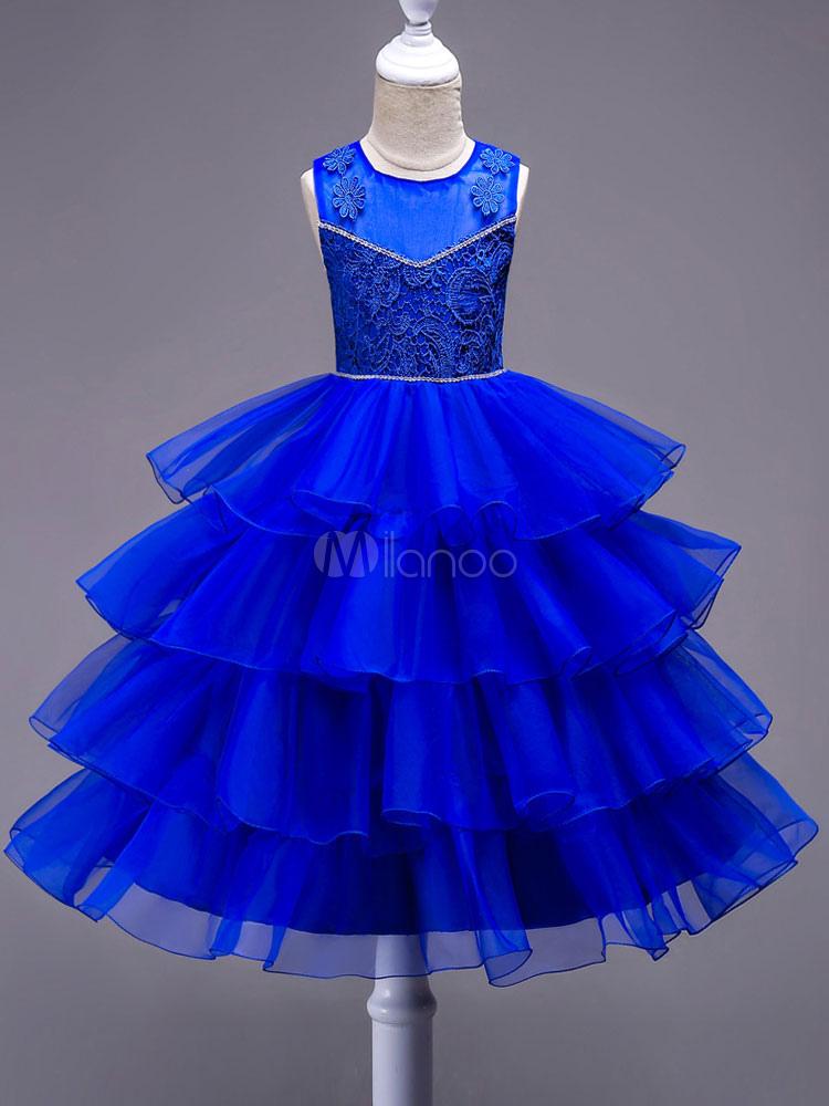 Blumenmädchen Kleider Spitze Tüll Tutu Kleid Blau Bögen Applique ...