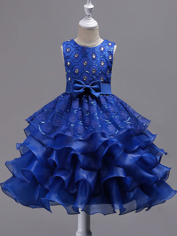 Flower Girl Dress Dazzling Blue Sleeveless Bows Tulle Pageant Dresses Kids Ball Gown Party Dress