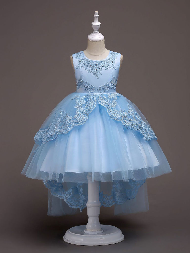 bc0e2622c9d Flower Girl Dresses Baby Blue Lace Tulle Princess Tutu Dress Embroidered  Kids Ball Gown Pageant Dresses ...
