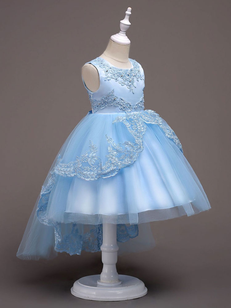 Flower Girl Dresses Baby Blue Lace Tulle Princess Tutu