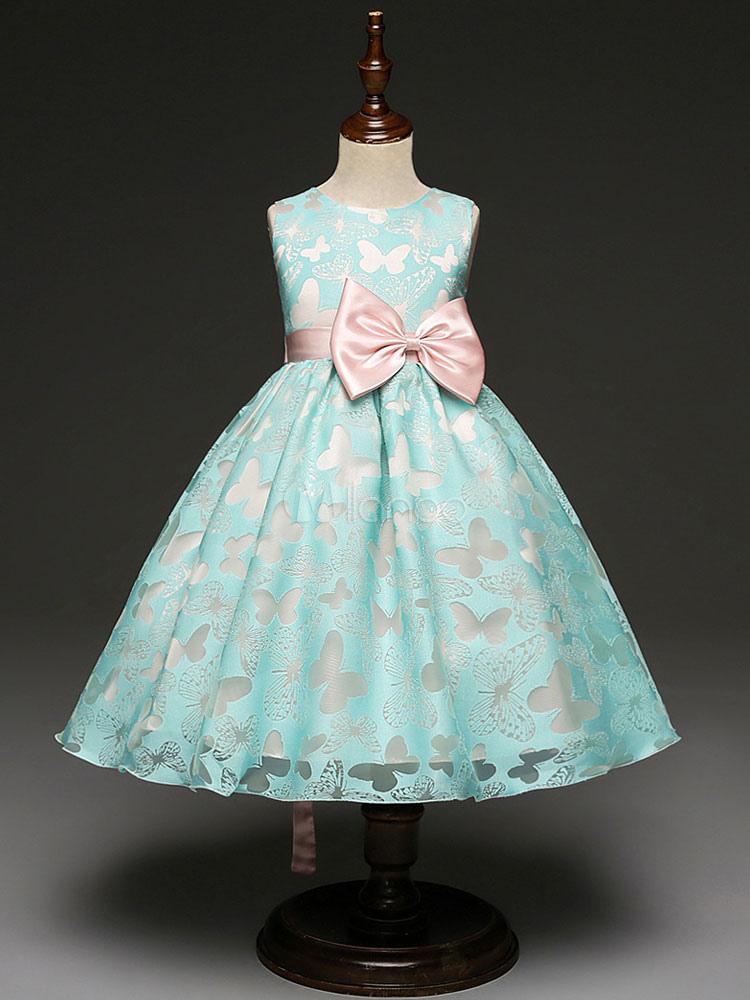 Blumenmädchen Kleider Ballkleid Kinder Festzug Kleid Mint Green Bow ...
