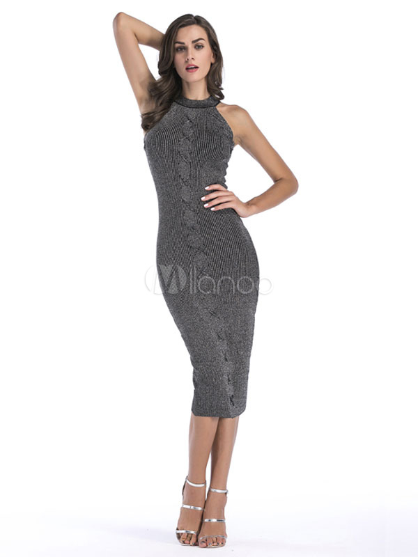 Knit Sweater Dresses Black Sleeveless Round Neck Bodycon Dress For Women