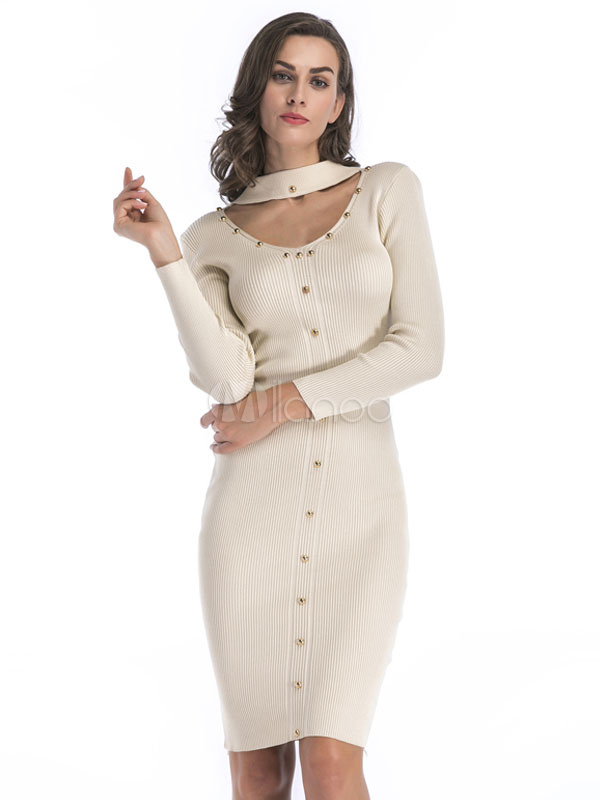 Knit Sweater Dress Apricot Long Sleeve Round Neck Cut Out Studded Bodycon Dress For Women