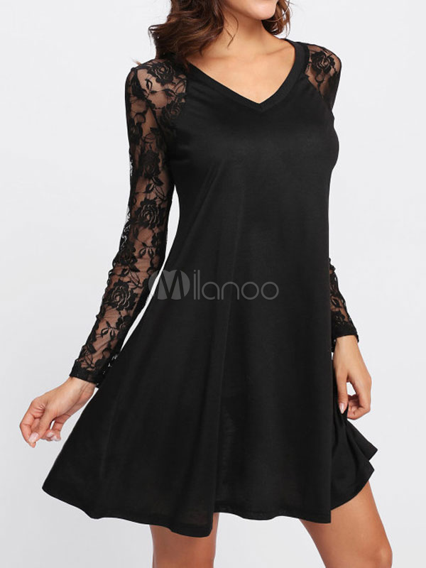 newest collection 80733 ae8a3 Vestito a tubino nero di poliestere con scollo a V maniche lunghe  monocolore pizzo
