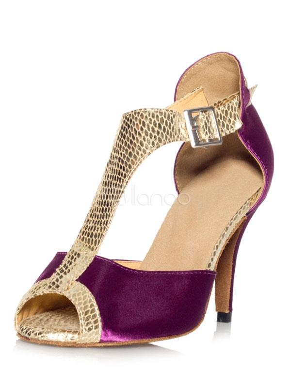 Zapatos de bailes latinos de punter Peep Toe Tacón bobina de satén para baile jnCA3