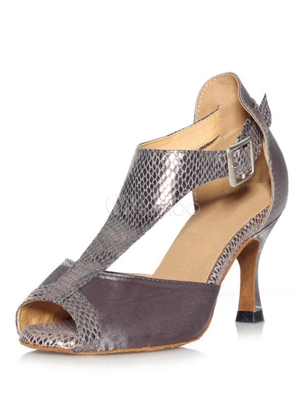Grey Dance Shoes Satin Peep Toe Buckle Detail Latin Dance Shoes Women Ballroom Shoes