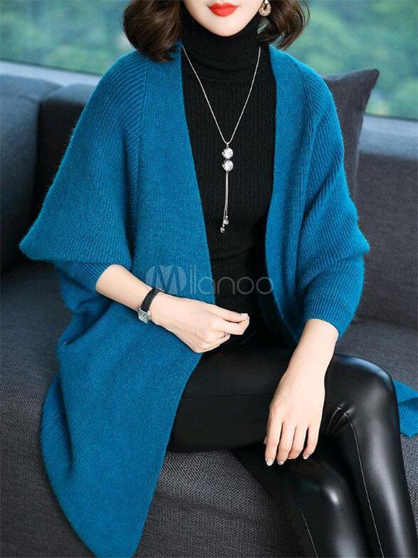 Blue Cardigan Coat Knitted Drop Shoulder Long Sleeve Women Long Cardigan