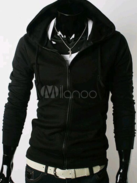 Hoodie For Men Black Hooded Jersey Jacket Long Sleeve Zip Up Cotton Hoodie