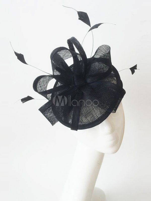Buy Black Wedding Fascinator Hat Tulle Feathers Bridal Headpieces for $19.99 in Milanoo store