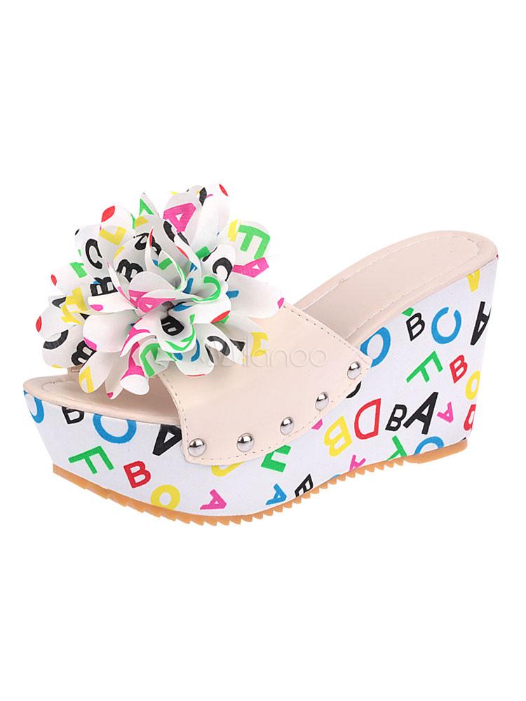 White Women Slippers Open Toe Platform Letters Printed Backless Slippers