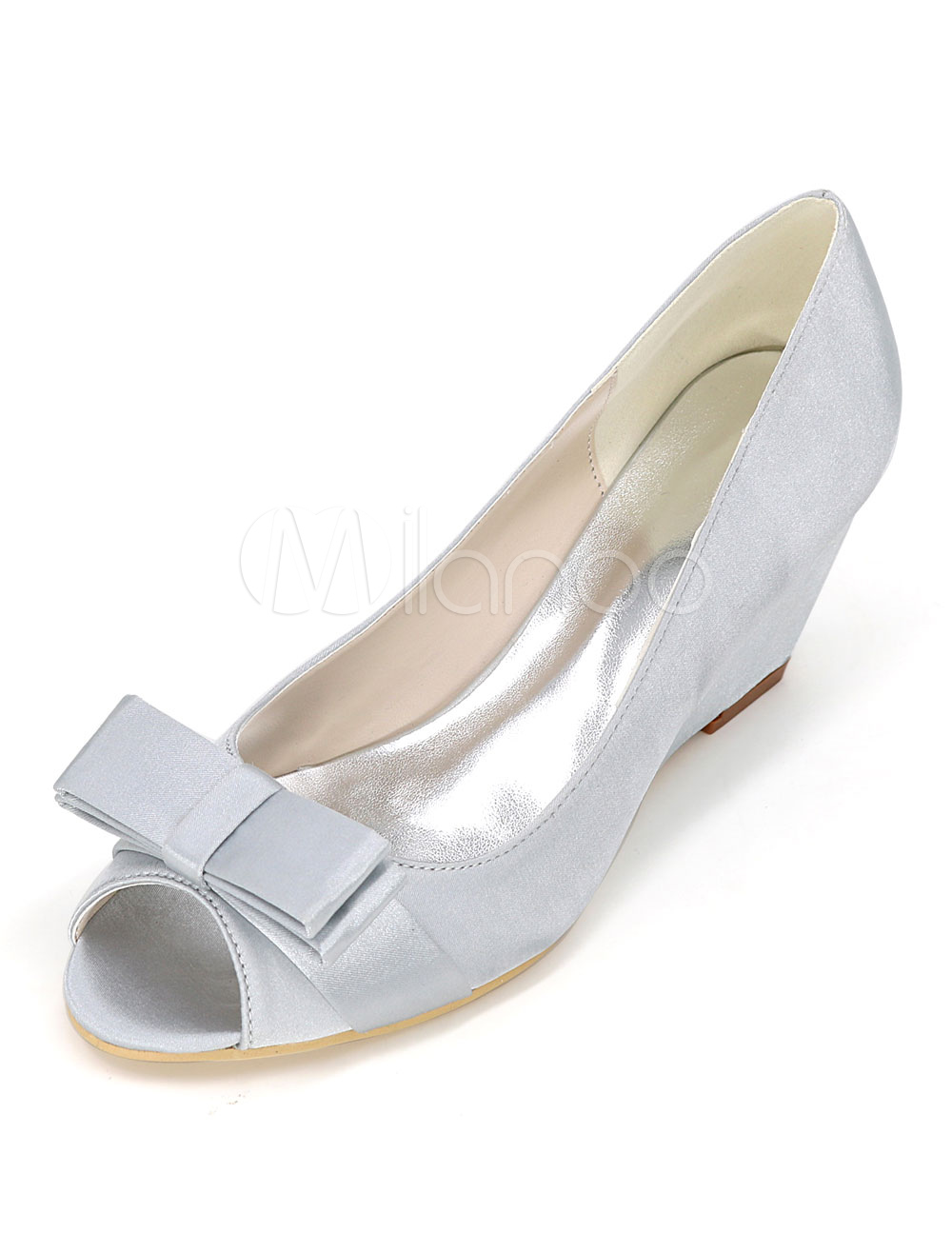 Silver Wedding Shoes Satin Peep Toe Bow Slip On Bridal Shoes Women Wedge Shoes