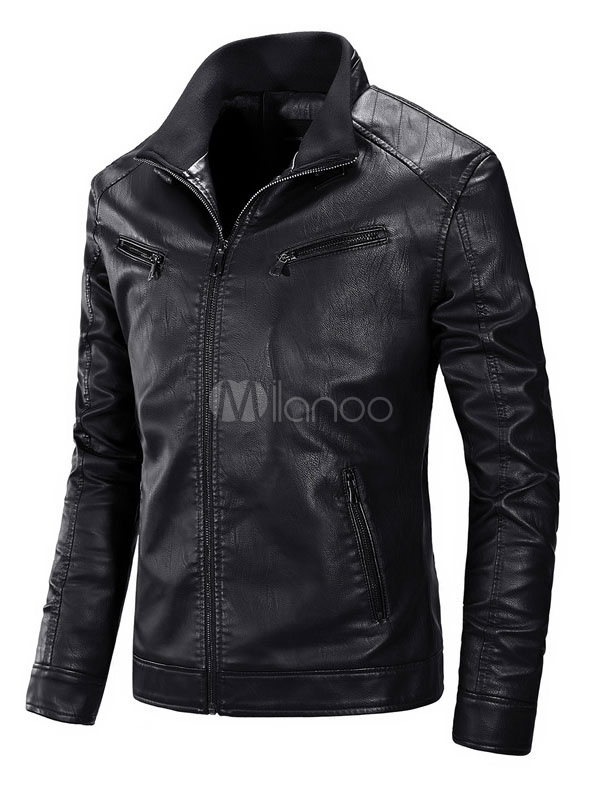 Buy Men Leather Jacket Black Winter Coat Stand Collar Long Sleeve Zip Up Short Jacket for $39.99 in Milanoo store