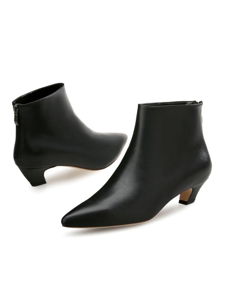 b12260276e ... Women Ankle Boots Kitten Heel Booties Pointed Toe Zip Up Booties-No.5  ...